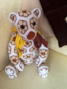 Bear for my mum..   African flower Bear- Crochet Pattern by - Heidi Bears - ( available at , Http://heidibearscreativeblog spot.com ). Hand Made By Craftypaulaa