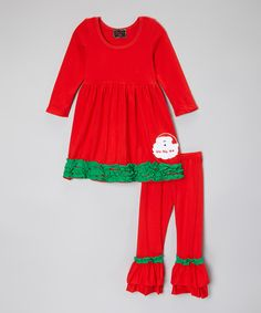 Look at this #zulilyfind! Red & Green Santa Top & Ruffle Pants - Infant, Toddler & Girls by Royal Gem #zulilyfinds