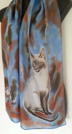Your place to buy and sell all things handmade Painted Silk, Hand Painted, Cat Scarf, Bird Paintings, Cat Sitting, Cat Face, Siamese Cats, Online Gifts, Silk Scarves