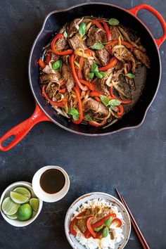 A seasoned cast-iron skillet is a good stand-in for a wok in this easy beef stir-fry recipe. Before you begin cooking, put a pot of rice on to steam.