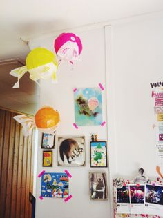 My workspace, whit my inspiration wall, Moomin stuff and balloon fish