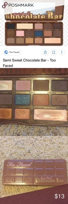 Too faced semi sweet chocolate bar palette Amazing eyeshadow pallete. Gently used. Was cleaned and sanitized before listing. Too Faced Makeup Eyeshadow