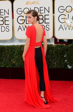 Backview of Emma Watson's outfit at Golden Globes 2014