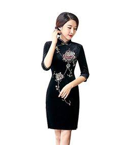 b7cca89ff ACVIP Women's Sequin and Beaded Handmade Half Sleeve Short Chinese Dress  Cheongsam Qipao