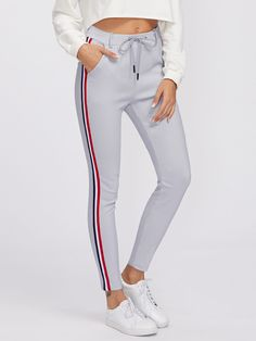 Striped Tape Side Drawstring Waist SweatpantsFor Women-romwe Source by tobyallertom dress spring Cute Sweatpants, Sweatpants Outfit, Cute Pants, Summer Dresses With Sleeves, Party Dresses For Women, Ladies Dresses, Sexy Dresses, Prom Dresses, Sporty Outfits