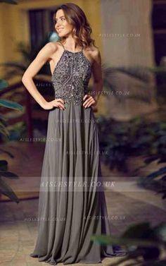 Backless Spaghetti Straps Sparkle Beaded Bodice Long A-line Grey Chiffon Prom Dress _1