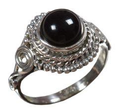 Black Onyx 925 Solid Sterling Silver Natural Gemstone US Size 5.75 JSR-1657 #Handmade #Ring