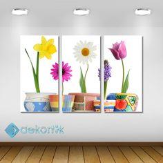 Floral Dekoratif Saksı Tablo #parçalı_kanvas_tablolar