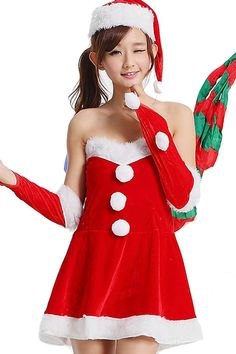 36a8d96101ce88 Sexy off shoulder furry Miss Santa Costume Womens Christmas Costume  Ad
