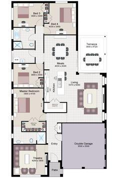 ***** floor plan: 4 bdrms, add bdrm 5 to LR, add bsmnt Best House Plans, Dream House Plans, Small House Plans, House Floor Plans, House Ideas, Home Design Floor Plans, Cottage Plan, Storey Homes, Bedroom House Plans