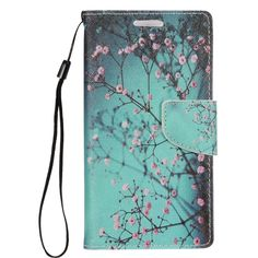 Insten / Pink Cherry Blossom Leather Case Cover Lanyard with Stand/ Wallet Flap Pouch/ Photo Display For Apple iPhone 7 #2272995