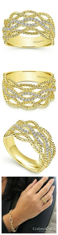 Rope texture yellow gold and diamond right hand ring from Gabriel and Ben Garelick.