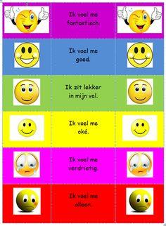 """Emotieladder: zet de namen van de kinderen op een knijper en hun knijper bij hun gevoel """"pinnen"""". Zo leren ze hun gevoelens te herkennen, te benoemen en te bespreken. Je kunt ook met ze bespreken wat ze nodig hebben om bij een vakje hoger te komen."""