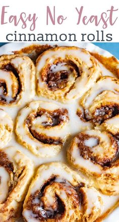 Easy cinnamon rolls ready to eat in under 1 hour. These quick sweet rolls have a biscuit-like texture and are made with no yeast. You'll love our secret for making them the gooiest cinnamon rolls ever! Cinnamon Rolls Without Yeast, Biscuit Cinnamon Rolls, Quick Cinnamon Rolls, Strawberry Cinnamon Rolls, Overnight Cinnamon Rolls, Cinnabon Cinnamon Rolls, Cinnamon Roll Monkey Bread, Cinnamon Roll Waffles, Vegan Cinnamon Rolls