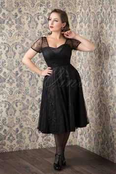 The gorgeous Acid Doll wearing our 50s Nina Lace Swing Dress in Black by Collectif Clothing! #AcidDollPinup @acid