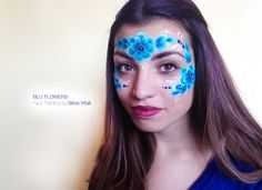 BLU FLOWERS Face Painting by Silvia Vitali