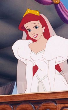 Ariel in her wedding dress. Love this!