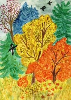 Картинки детский рисунок осени