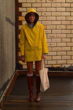 Little yellow raincoat.