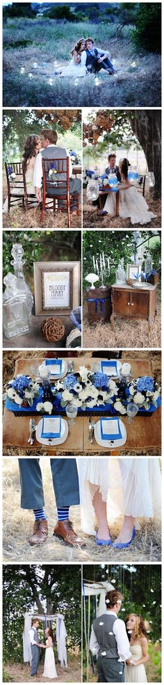 Twilight wedding inspiration. I like the touch of blue and the socks and shoes, lol.