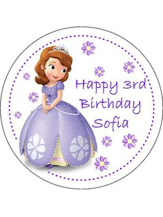 7.5 Personalised Beautiful PreCut Edible Wafer Paper by CakePics Sofia the 1st
