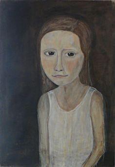 meisje zonder blauwe jurk - 2011 acryl, houtskool & aquarel op papier 70x100cm