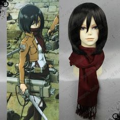 $13.69  Mikasa Ackerman Wine Red Scarf of Cosplay Attack on Titan