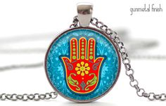 Hamsa Hand Necklace, Hamsa Jewelry, Good Luck Charm Charm, Protection Pendant (1165)