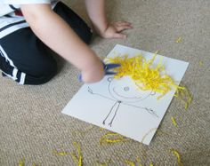 "Great for an ""all about me"" activity. Have child draw self with ""Mat Man"". Then glue paper on for hair and let them cut it."