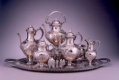 Tea and Coffee Set  1854  Silver 15 x 10 x 7 inches
