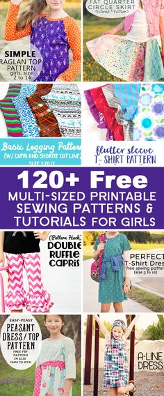 Over 120 FREE Printable Sewing Patterns and Tutorials for Girls
