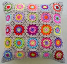 another granny square cushion cover