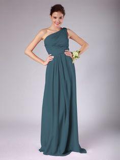 One Shoulder Pleated Chiffon Bridesmaid Dress