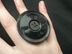 Black Vintage Button Adjustable Ring Handmade by gabriellesgifts, £5.00