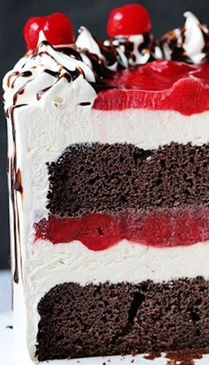 The combination of chocolate cake, vanilla ice cream and cherry filling makes a great contrast in texture and flavor.