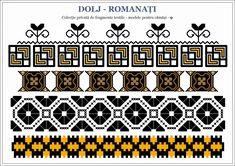 Semne Cusute: din OLTENIA Beading Patterns, Embroidery Patterns, Border Pattern, Hama Beads, Pixel Art, Cross Stitch, Traditional, Handmade, Crafts