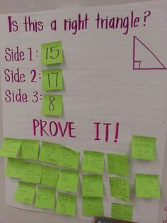 "This is a great math activity to use as stations. Students are using Pythagorean theorem to identify a right triangle. Great ""do-now"" activity. Math Strategies, Math Resources, Math Activities, Math Games, Teaching Geometry, Teaching Math, Teaching Ideas, Math Teacher, Math Classroom"