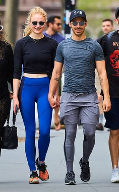 Cute couple Sophie Turner & Joe Jonas jazz up their athleisurewear with square and rounded shades.