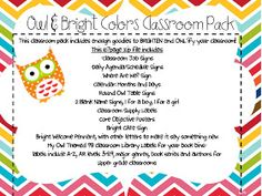Fancy Free in Fourth: Owl Theme Classroom Pack and a Sneak Peek