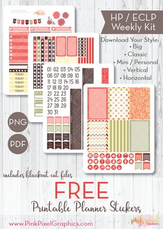 Free Printable Autumn Strawberry Fields Planner Stickers. {subscription required} See more at www.pinkpixelgraphics.com