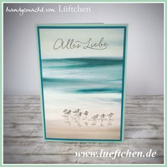 handmade card from Lüftchen Stamp Studio Bergedorf ... clean and simple card using photo print paper ... birds on a beach and sentiment stamped on top ... luv how she matted with the main colors of the print ... Stampin' Up!