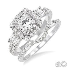 1 1/3 Ctw Diamond Wedding Set with 1 Ctw Princess Cut Engagement Ring and 1/3 Ctw Wedding Band in 14K White Gold