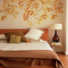 Autumn leaf wall mural decor for bedroom