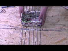 ▶ Papierowa wiklina krok po kroku - jak zrobić prostokątne dno - YouTube Newspaper Basket, Newspaper Crafts, Old Newspaper, Recycled Crafts, Diy And Crafts, Papercrete, Magazine Crafts, Old Paper, Craft Gifts