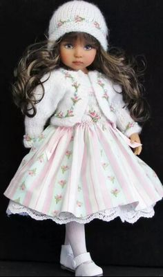Handmade smocked dress and sweater set made for Effner Little Darling dolls