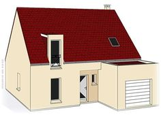 Modèle PC-70  Pavillon avec garage comprenant cuisine ouverte sur le séjour, hall, salle de bains, WC et 1 chambre au rez-de-chaussée. 3 chambres, salle de bains à l'étage.  Surface Habitable : 106,88m²