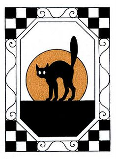 Vintage Halloween Clip Art - Black Cat with Moon - The Graphics Fairy
