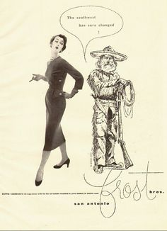 1953 vintage fashion ad,  'Rib Cage' Dress at Frost Bros, San Antonio