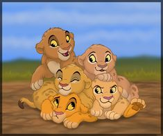 Simba, Nala, Tojo, Malka, and Tama as newborns. The tan cubs of the group Lion King Tree, Lion King Fan Art, Lion King Baby, Lion King Movie, Lion Art, Simba Disney, Disney Lion King, Fanart, Anime Animals