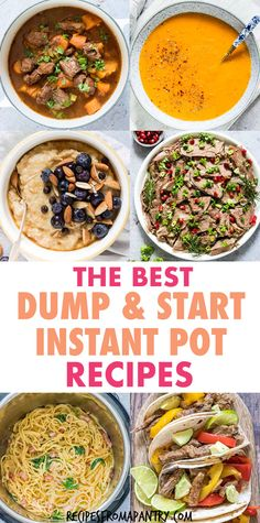 Save time with these easy, no-fuss meals you can make in your instant pot! This awesome collection of Dump and Start Instant Pot Recipes includes a variety of breakfasts, soups,chicken, ground beef, stews, main dishes, side dishes and desserts. Just dump ingredients in your pressure cooker, start and go! Great for meal planning and freezer meals. Instant pot dump and start recipes. #Instantpot #easyrecipes #dumprecipes #recipes #pushandstartrecipes #30minutemeals #pressurecooker #dumpandgo Lunch Recipes, Supper Recipes, Pasta Recipes, Breakfast Recipes, Chicken Recipes, Cooking Recipes, Meal Prep Containers, Meal Prep Bowls, Lunch Meal Prep